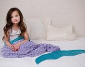 Mermaid tail Blanket- Ariel Mermaid Blanket- Mermaid Sleep Sack- Minky Mermaid Blanket- Teal Aqua Minky Bedding- Ships out in 1-3 Days