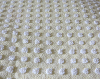 Morgan Jones Vintage Chenille Bedspread Fabric Fat Quarter-Craft-Sewing-Yellow with White Popcorn-MINT