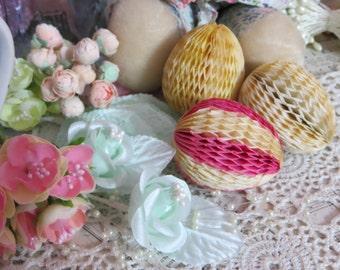 Vintage Honeycomb Easter Eggs-Set of 3