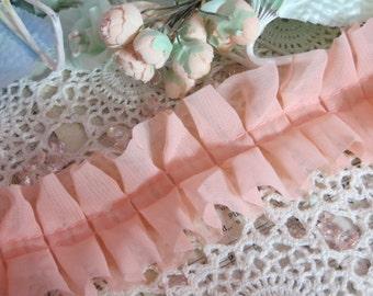 Ruffled Ribbon-Chiffon-Trim-Sewing-Dolls-Clothing-Scrapbooking-Embellishment-Card Making-Coral PInk-1 inch-BTY