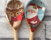 Father Christmas & Reindeer Decorative Decoupage Wooden Spoons. FREE shipping to all UK addresses