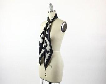 Vintage VERA Scarf / 1960s MOD Scarf Designer Scarf 60s Black White Graphic Op Art Paisley Art Deco Long