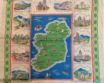 Vintage Linen Tea Towel - the Map of Ireland