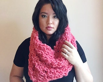 Coral oversized wool scarf, hooded cowl, oversized scarf gift idea, women chunky snood, cowl snood scarf, blanket scarf, circle scarf