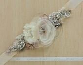 Wedding sash, Bridal sash, Floral belt, Floral sash, Champagne belts sashes, Burlap belt sash, Ivory Tan Beige rose gold