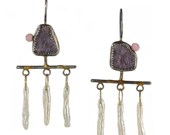 SALE - Mica Swing Earrings - Lavender Lepidolite Mica, Pearls, Peruvian Opal, Recycled Silver & 14k Gold - Mixed Metal, OOAK, Talisman