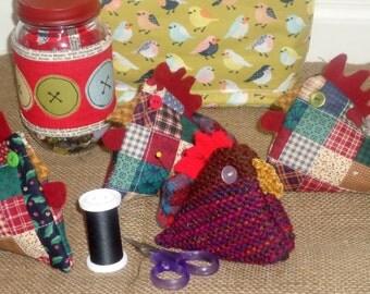 Chicken pin cushion, sewing pin cushion, whimsical pincushion