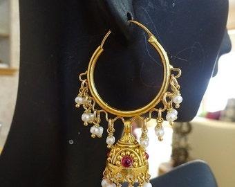 ON SALE Jaipur jhumkas-J473- Gold Vermeil Hoop Jhumkas with Freshwater Pearls