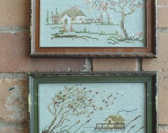 Vintage Needlepoint Country House Scenes, Framed  (set of 2)