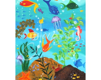 Happy Fish, 16x20 PRINT, Whimsical wall art for home, office or kids rooms.