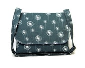 Custom Reserved Listing for C - Dark Gray Dandelion Mesenger Bag, Long Strap