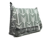 Custom Reserved Listing for J - Handmade Gray Pocketbook, Women's Messenger Bag, Arrow Purse