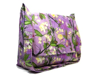 Cherry Blossom Purse, Medium Crossbody Bag, Purple Green Pocketbook, Fabric Cross Body Bag for Women, Fabric Messenger Bag, Cotton Handbag