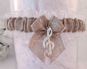 Music Wedding Garter - Rustic Wedding Garter - Burlap Linen Bridal Garter.