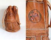 vintage tooled leather bag - CAMEL soft leather bucket bag