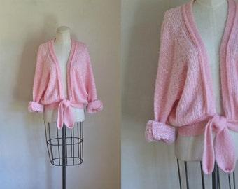 vintage 1970s wrap cardigan - BALLERINA pink fuzzy open front cardigan / S-M-L
