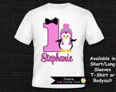 Personalized Penguin T-Shirt or Bodysuit - 1st Birthday Penguin Shirt - Hot Pink - Turquoise Blue - Purple - ANY NUMBER - Boy and Girl