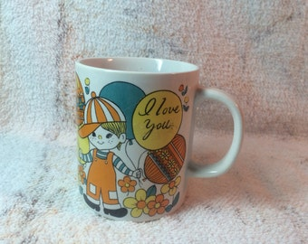 60s-70s Adorable Mug I Love You Boy Dog Poodle Hot Air Balloons