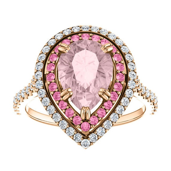 Pear Morganite Rose Gold  Engagement Ring Diamond or Pink Sapphire Halo