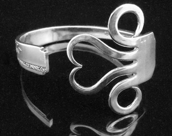 Recycled Silver Fork Bracelet in Original Heart Design