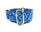 """Houndstown 1.5"""" Cobalt Bandana Martingale or Buckle Collar, Size Small through X-Large"""