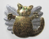 Cat with wings, fairy or angel cat brooch