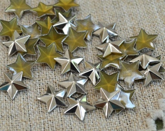 50pcs Flat Back Silver Finished Brass Hot-Fix Rhinestud 8x8 Star Metal