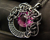 Wire wrapping Necklace - Pink Passion - Topaz Sterling and Fine Silver