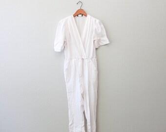 Vintage White One-piece onesie Jumpsuit Romper by Calhoun