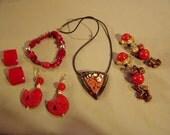 RESERVED FOR LAURA --Lot Costume Carved Cinnabar Earrings Artist Studio Necklace Bakelite Earrings Bracelet 8339