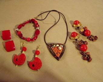 Vintage Lot Costume Carved Cinnabar Earrings Artist Studio Necklace Bakelite Earrings Bracelet 8339