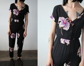 Vintage Black Floral Jumpsuit Tiny Fit High Waist Skinny Tapered Leg Onesie XS