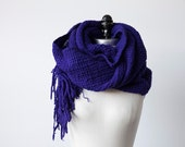 Vintage Handwoven Violet Wool Scarf Shawl Hand Woven Purple Fringe XL Weaving Wrap