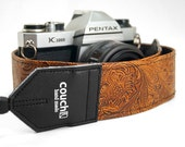 Light Brown Embossed Western Camera Strap, Hand Made.