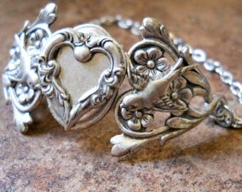 Hearts and Flowers Bracelet, Silver Heart Bracelet, Silver Heart, Heart Bracelet, Victorian Bracelet