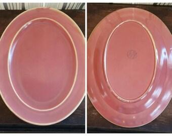 Vintage Platter Homer Laughlin Wells Art Glaze Deep Pink Art Pottery Platter 30's Art Deco Kitchen Decor Shabby Chic Cottage Style