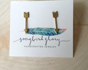 Long arrow brass stud earrings