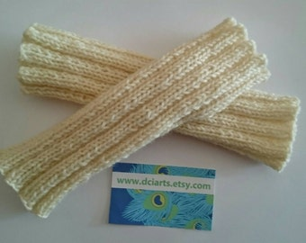 Beautiful Cream Off White Handknit wristers fingerless mitts or gloves knit from pure Australian wool