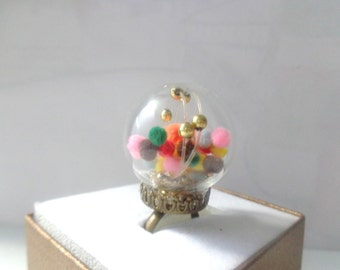 colorful miniature art glass statement ring