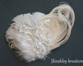 CLARA -- Champagne Ivory Peacock Feather Embroidered Floral Lace Sequin Bride Bridal Bridesmaid Wedding Fascinator Headpiece Hair Clip