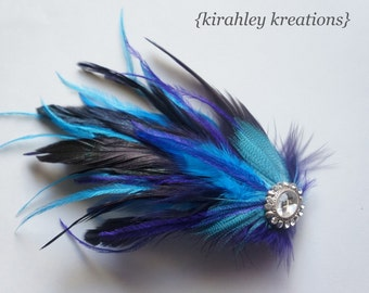 Purple Teal Turquoise Feather Fascinator Prom Hair Clip Bride Bridal Bridesmaid Wedding PHEOBE Headpiece Sparkling Rhinestone Customize