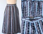 40% OFF SALE Vintage Austrian Skirt . Geiger Baumwolle Cotton Pleated Dirndl Skirt . Blue Black Tapestry Stripe Oktoberfest Trachten Skirt .
