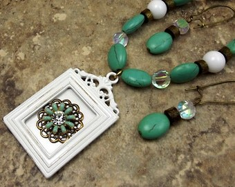 Turquoise Green Picture Frame Necklace Beaded Set with Earrings