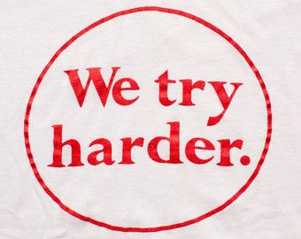 We Try Harder T-Shirt, Screen Stars, Avis Staff Ad Tee, Vintage 80s
