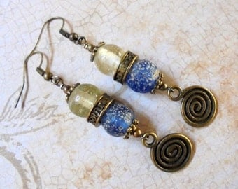 Blue, Crystal and Brass Ethnic Earrings (2895)