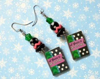 """Christmas Book Earrings """"A Guide to Re-gifting"""" (2382)"""