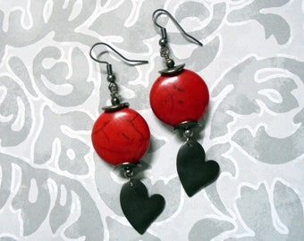 Red and Black Heart Earrings (2433)