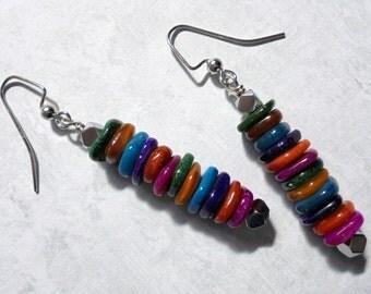 Multicolor Seashell Chip Earrings (2540)