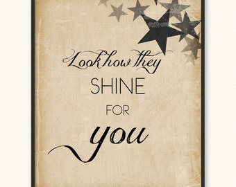8x10 • Look How They Shine for You • Art Print • Coldplay Yellow Look at the Stars