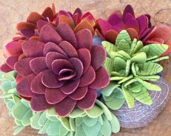 succulent felt plants soft rock sculpture